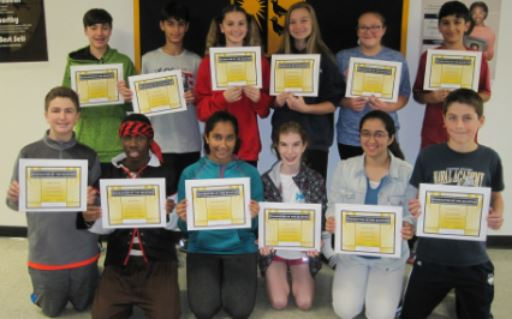 AMITY MIDDLE SCHOOL BETHANY CHARACTER OF THE FIRST QUARTER AWARDS