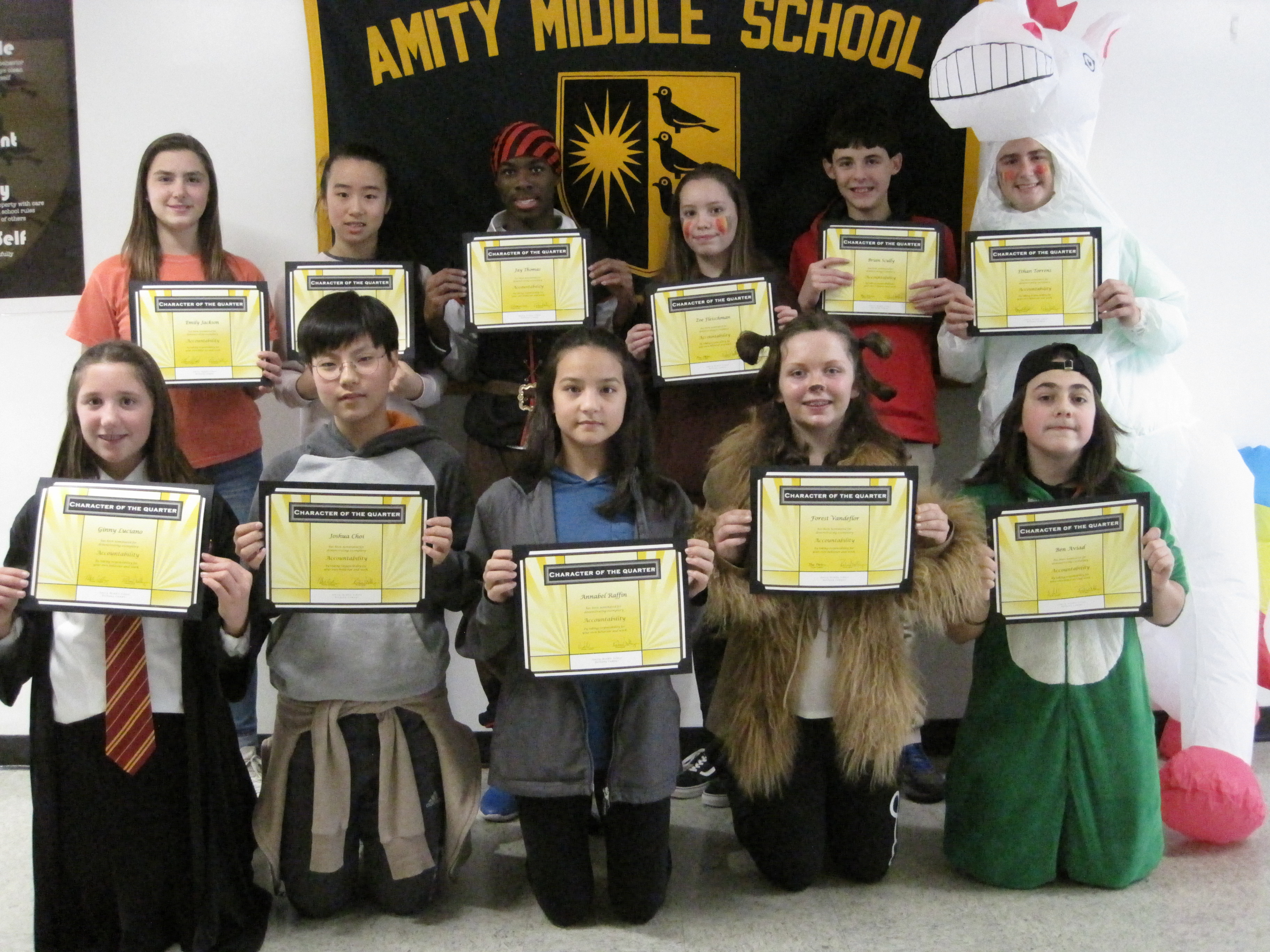 Amity Middle School in Bethany Character of the 1st Quarter Award