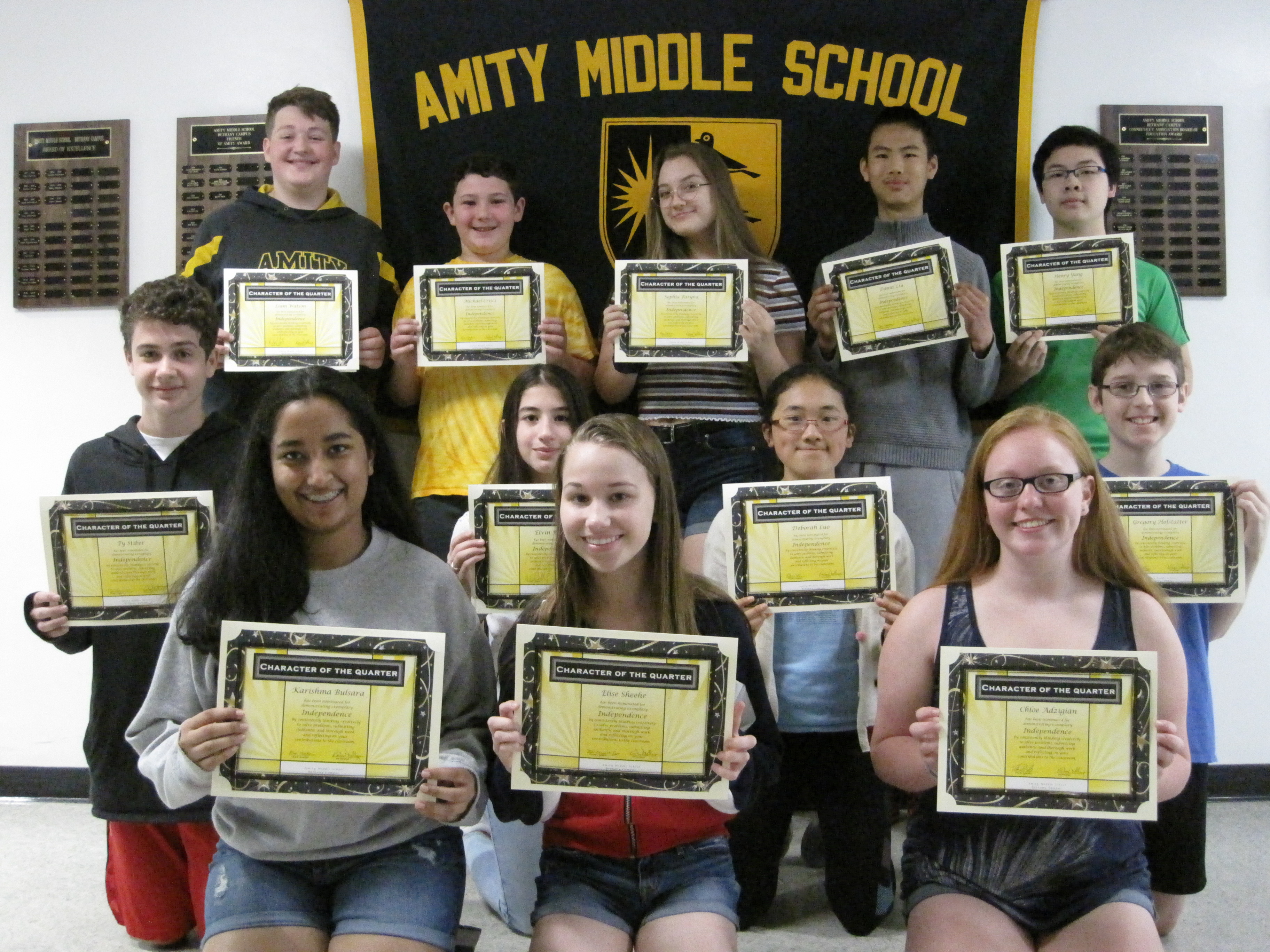 AMITY MIDDLE SCHOOL IN BETHANY Character of the 3rd Quarter Award