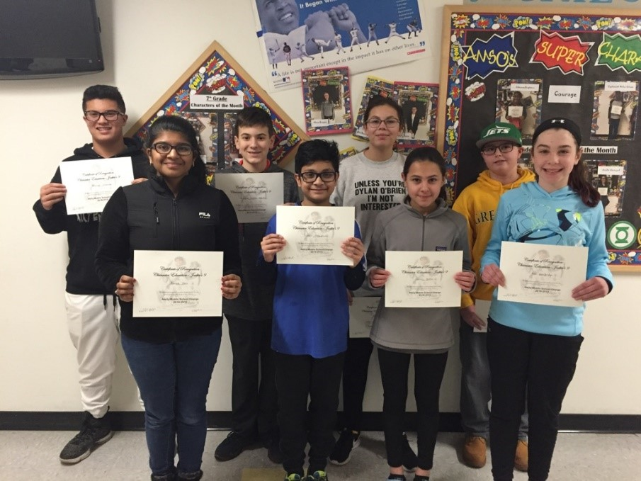 CHARACTER EDUCATION AWARD WINNING STUDENTS AT AMITY MIDDLE SCHOOL IN ORANGE
